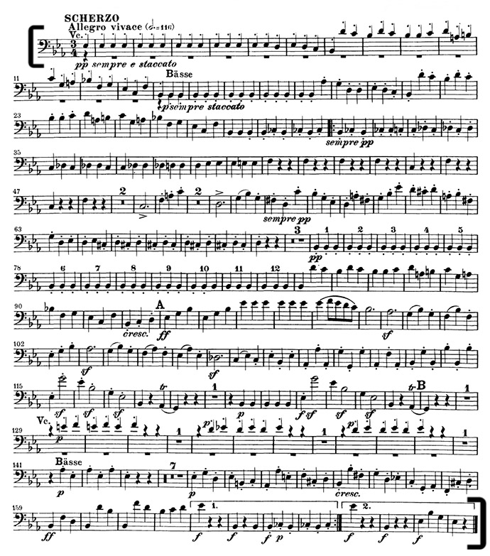 Beethoven Symphony 3 Double Bass Excerpt from mvt III (mm  1-166)