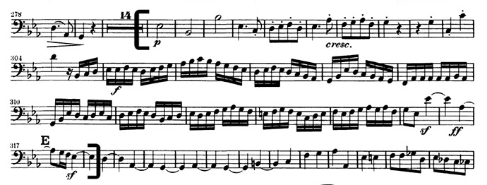 Beethoven Symphony No3 mvt 4 double bass excerpt