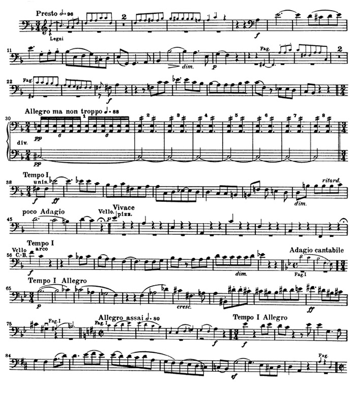 All Music Chords beethoven sheet music : Double Bass: Beethoven: Symphony 9, mvt. IV (mm. 1-90) - Orchestra ...