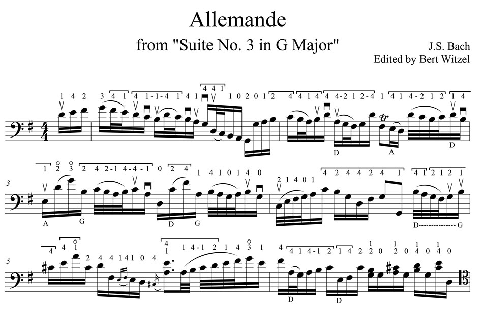 Bach Bouree 1 and 2, Allemande from Suite No. 3 edited by Bert ...